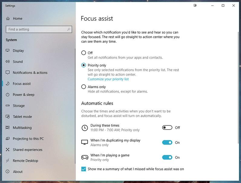 Focus Assist در ویندوز 10